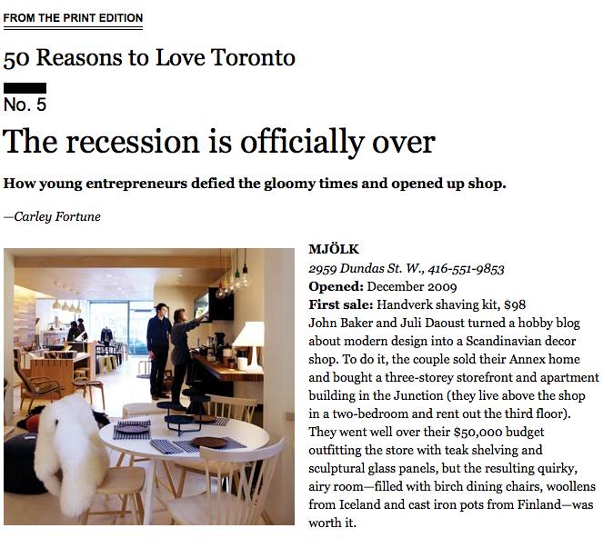 Mjolk in Toronto Life