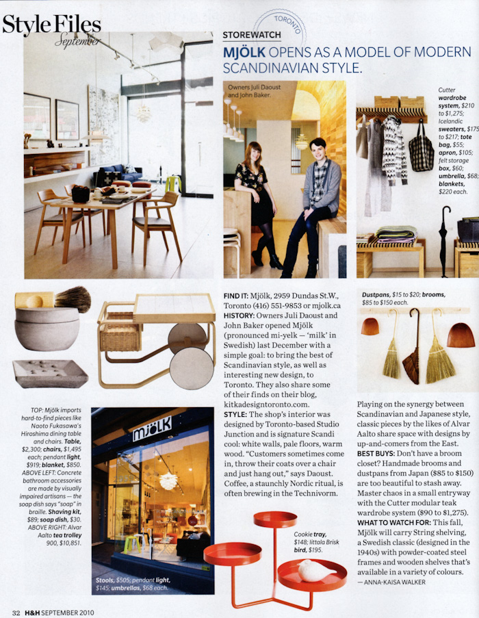 Mjolk in House and Home Magazine